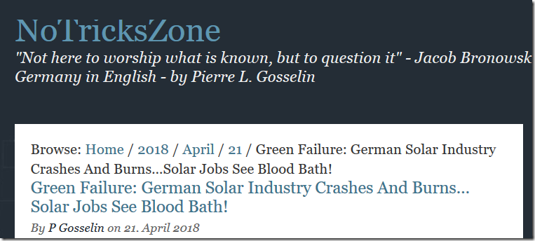 German Solar Industry Runs Out Of Steam   NOT A LOT OF