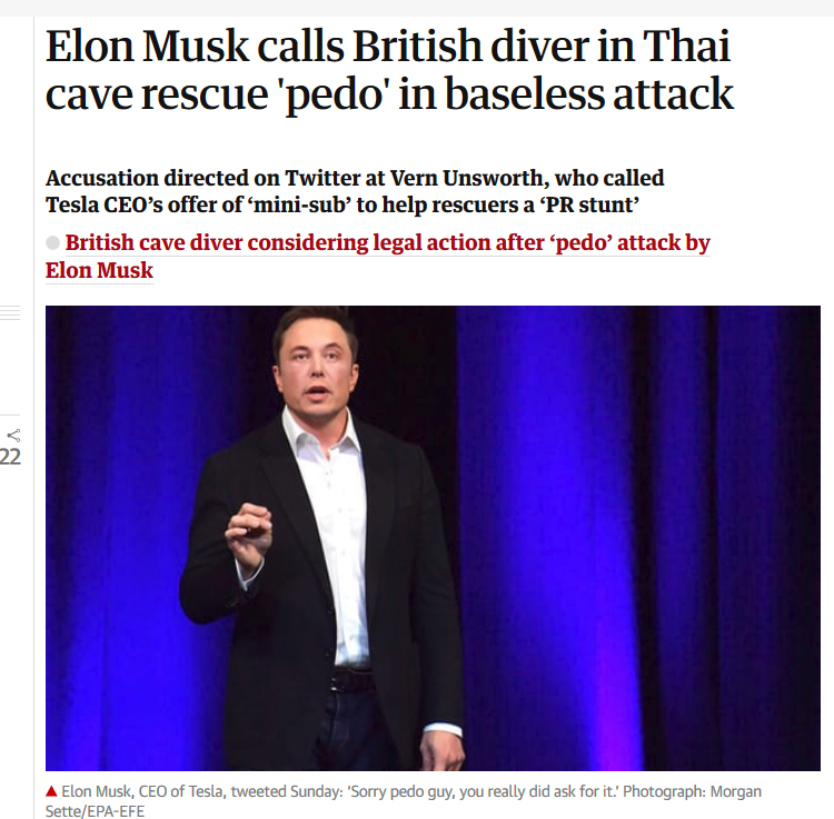 Elon Musk calls British diver in Thai cave rescue 'pedo' in