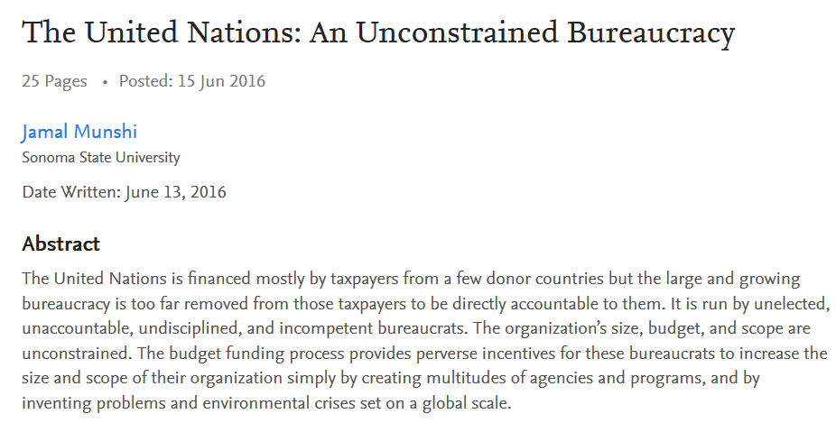 The United Nations: An Unconstrained Bureaucracy | NOT A LOT OF PEOPLE KNOW  THAT