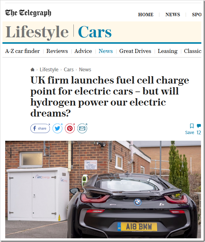 Buy A Hydrogen Fuel Cell To Power Your Electric Car (You'd