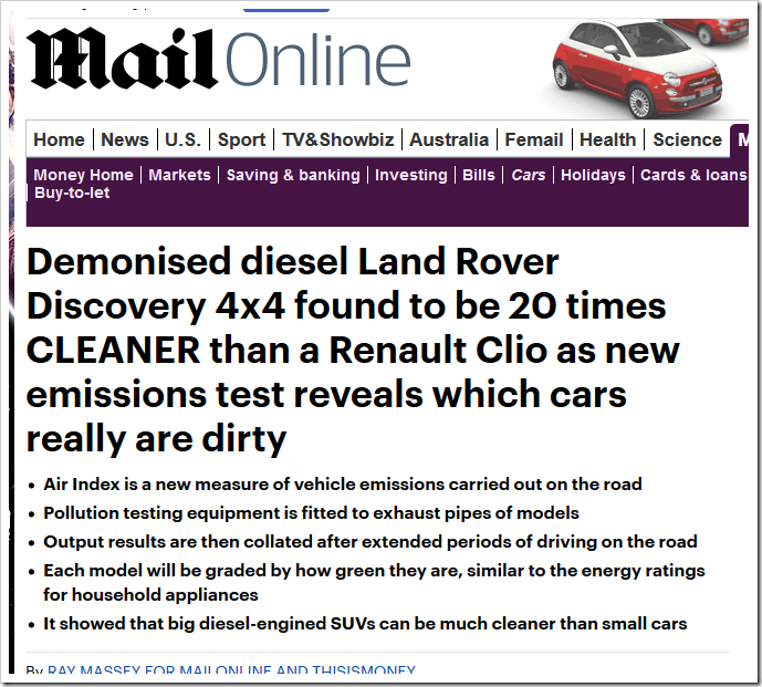 Demonised diesel Land Rover Discovery 4×4 found to be 20 times
