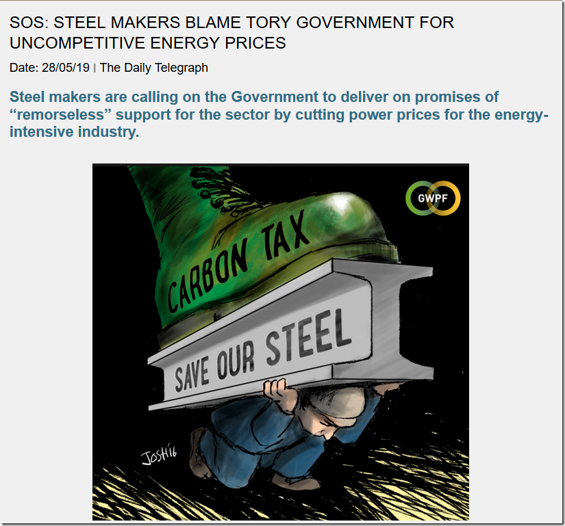 SOS: Steel Makers Blame Tory Government For Uncompetitive Energy Prices