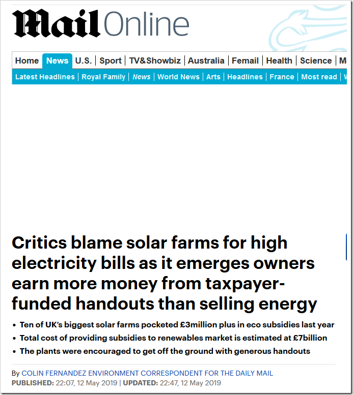 Critics blame solar farms for high electricity bills as it