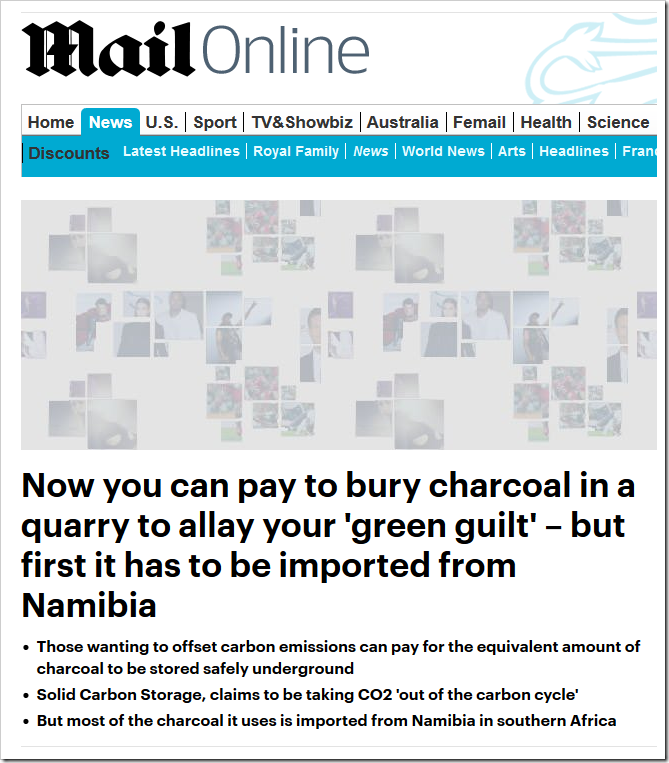Now you can pay to bury charcoal in a quarry to allay your 'green guilt' – but first it has to be imported from Namibia