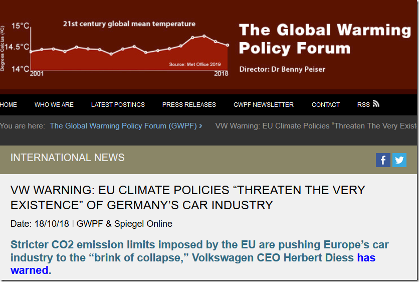 """VW Warning: EU Climate Policies """"Threaten The Very Existence"""" Of Germany's Car Industry"""