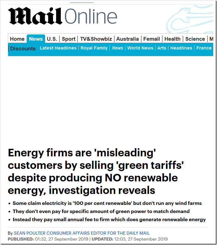 Energy firms are 'misleading' customers by selling 'green tariffs' despite producing NO renewable energy, investigation reveals