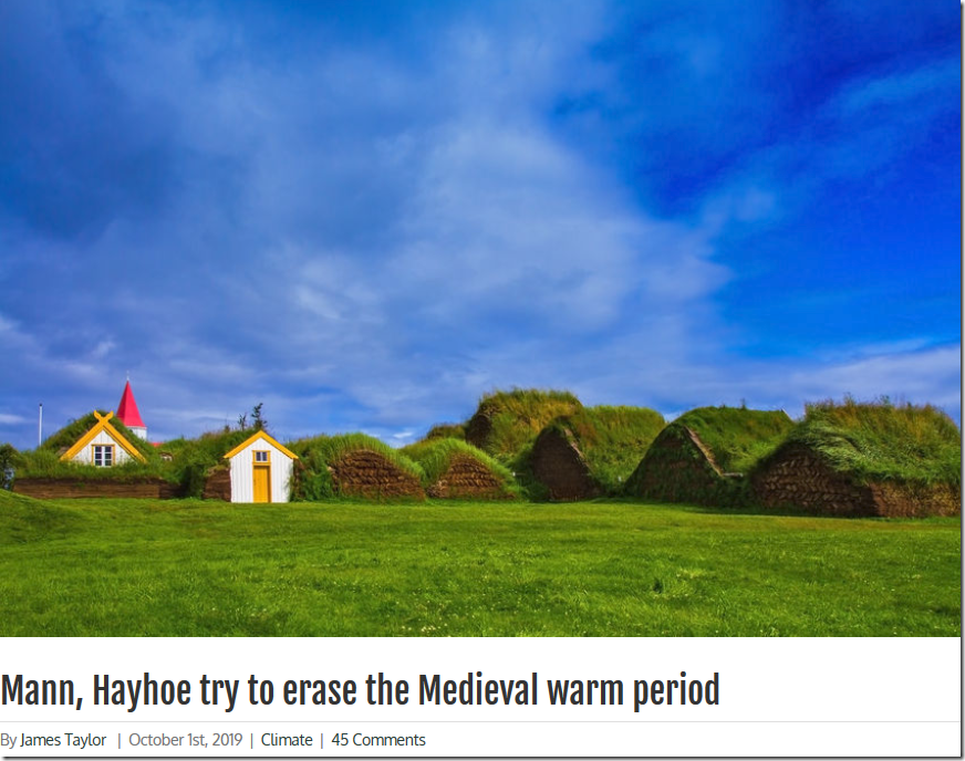 Mann, Hayhoe try to erase the Medieval warm period