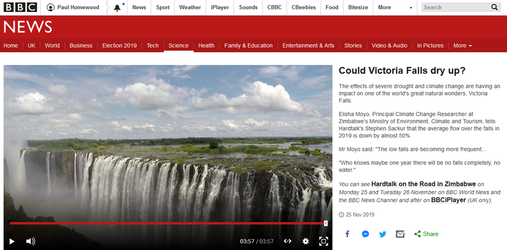 Victoria Falls Drying Up Latest Bbc Fake News Not A Lot Of