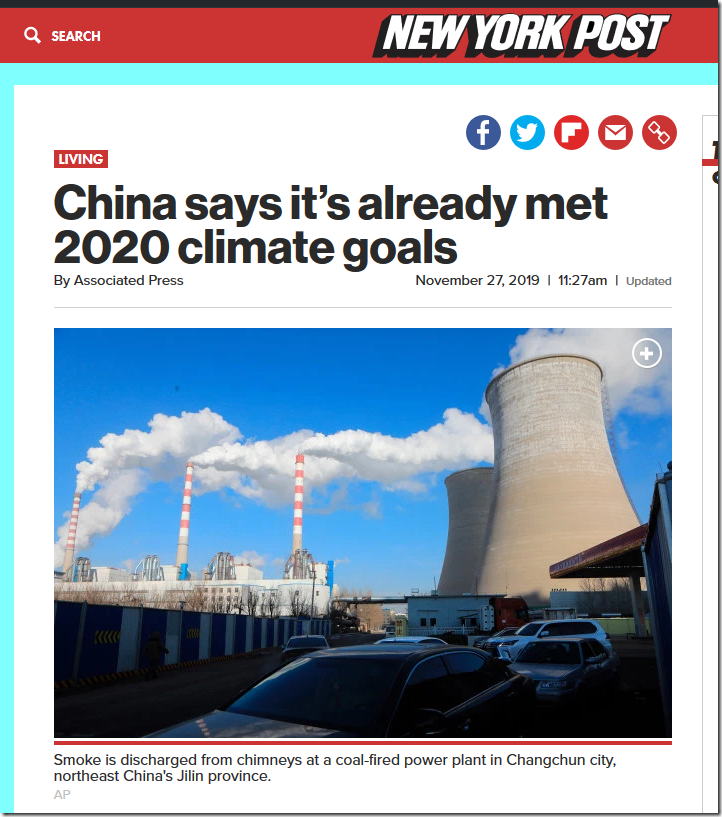 China says it's already met 2020 climate goals