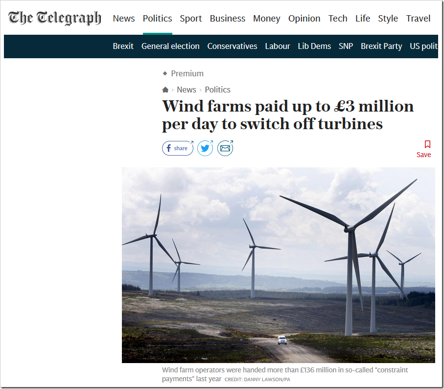 Wind Farms Paid £136m To Switch Off Last Year