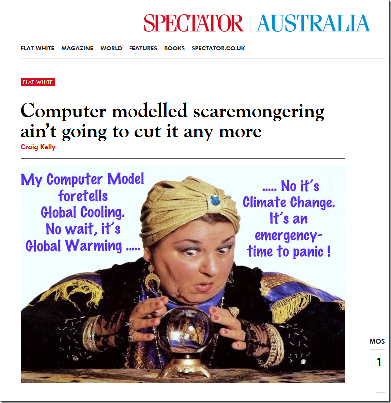 Computer modelled scaremongering ain't going to cut it anymore