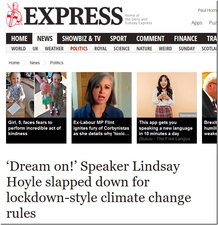 Speaker Hoyle Wants Lockdowns For Climate Change