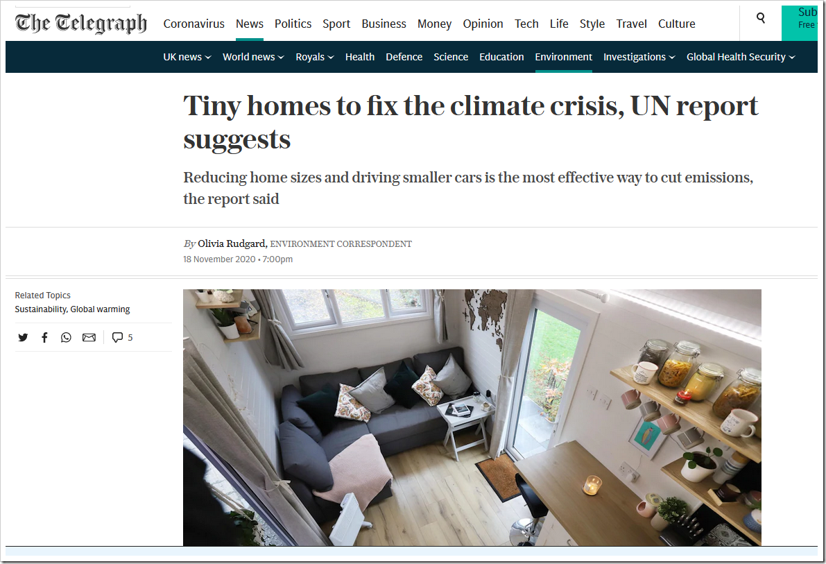 Tiny homes to fix the climate crisis, UN report suggests | NOT A LOT OF  PEOPLE KNOW THAT