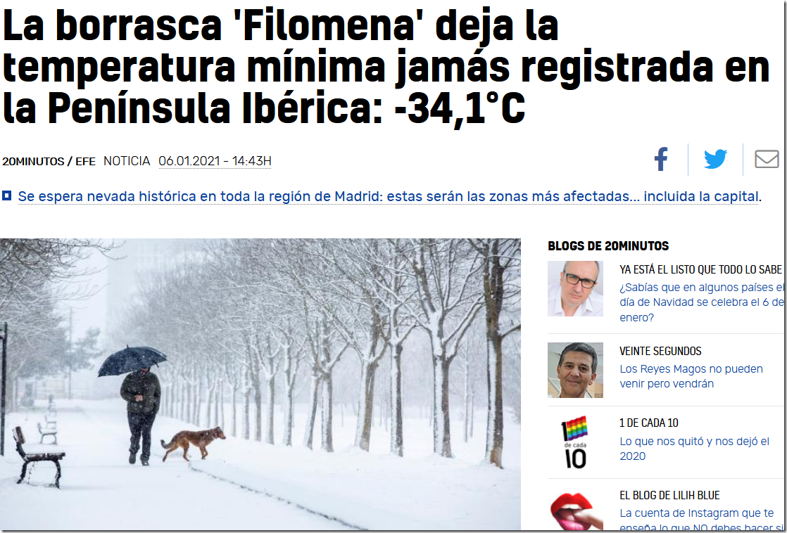 Record Low Temperature In Spain Today