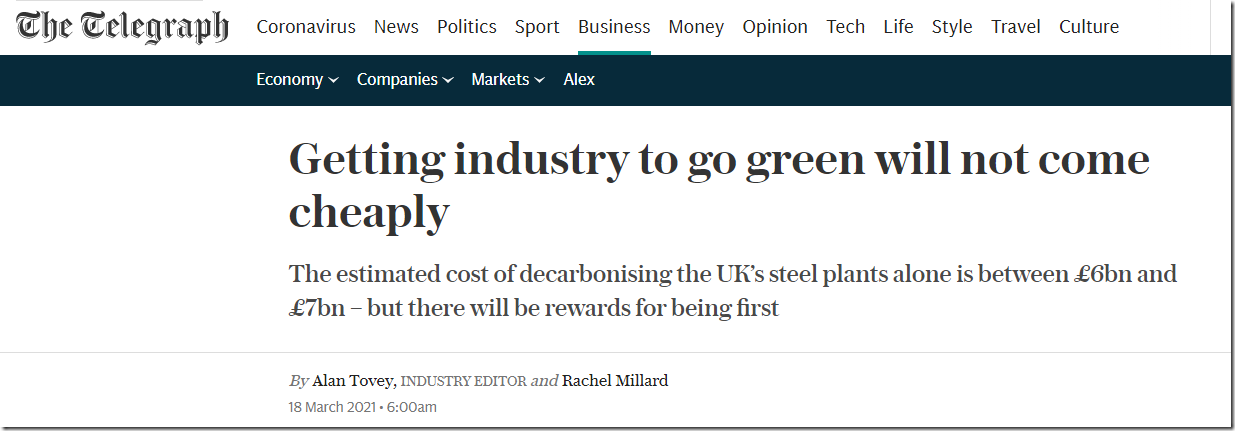 Getting Industry To Go Green Will Not Come Cheaply–Telegraph Wakes Up At Last!