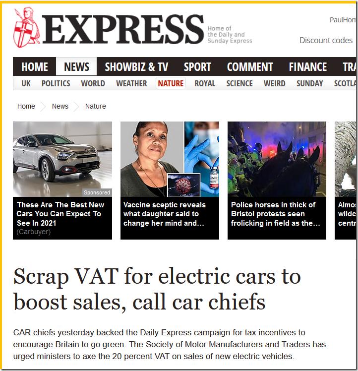 Scrap VAT On EVs–Daily Express