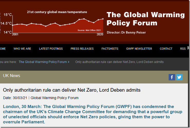 Only authoritarian rule can deliver Net Zero, Lord Deben admits