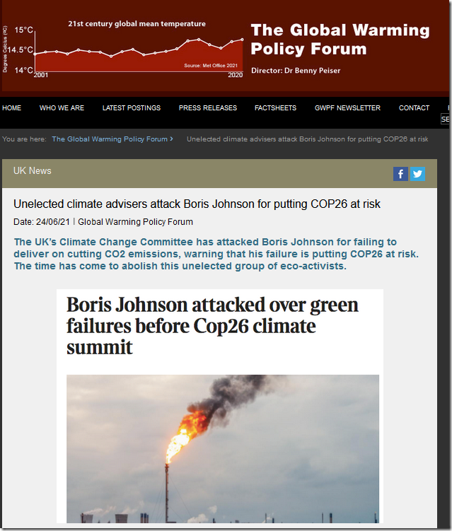 Unelected climate advisers attack Boris Johnson for putting COP26 at risk