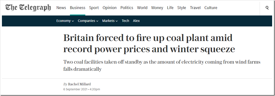 Britain forced to fire up coal plant amid record power prices and winter squeeze