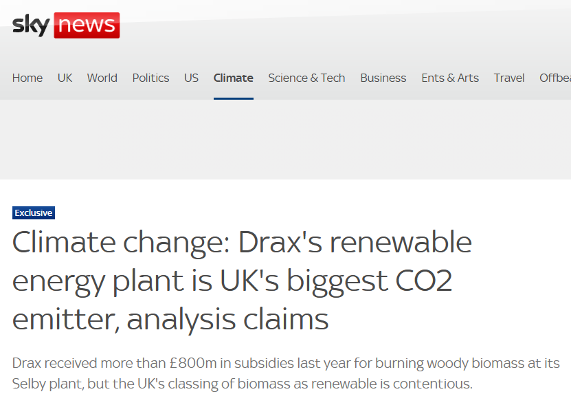 Drax's renewable energy plant is UK's biggest CO2 emitter, analysis claims