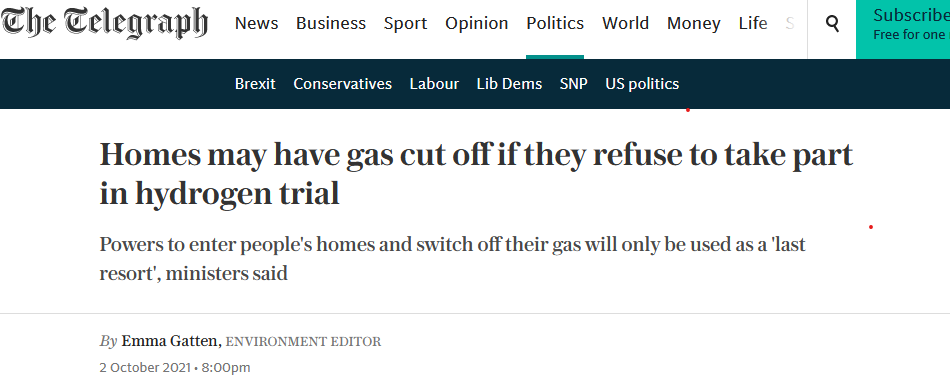 Homes may have gas cut off if they refuse to take part in hydrogen trial